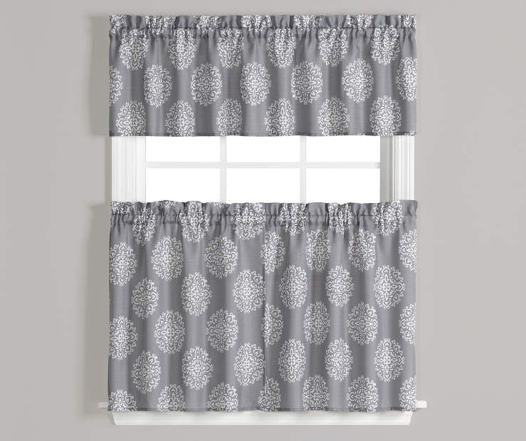Living Colors Carthage Gray White Kitchen Tier Valance 3 Piece