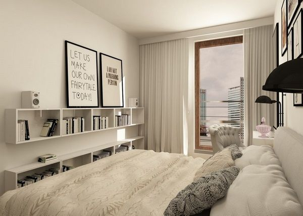 Home furnishings ideas Bedroom White handle free fronts cupboards above bed. Home furnishings ideas Bedroom White handle free fronts cupboards
