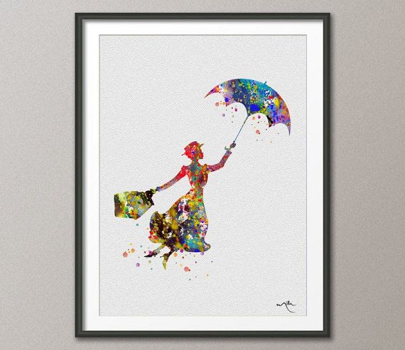 Marry Poppins Watercolor illustrations Art Print Wall por CocoMilla