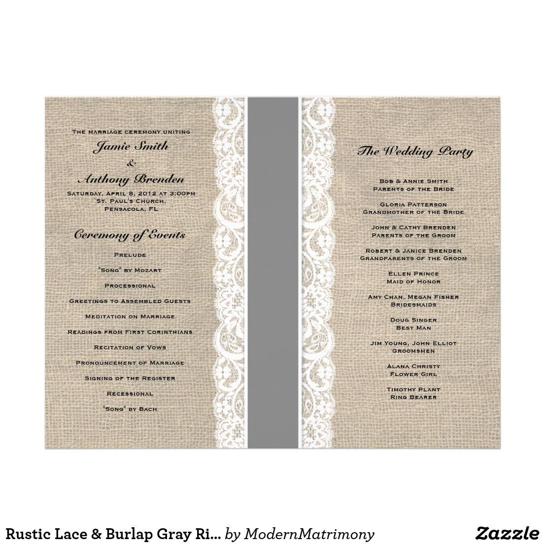 Rustic Lace & Burlap Gray Ribbon Wedding Program