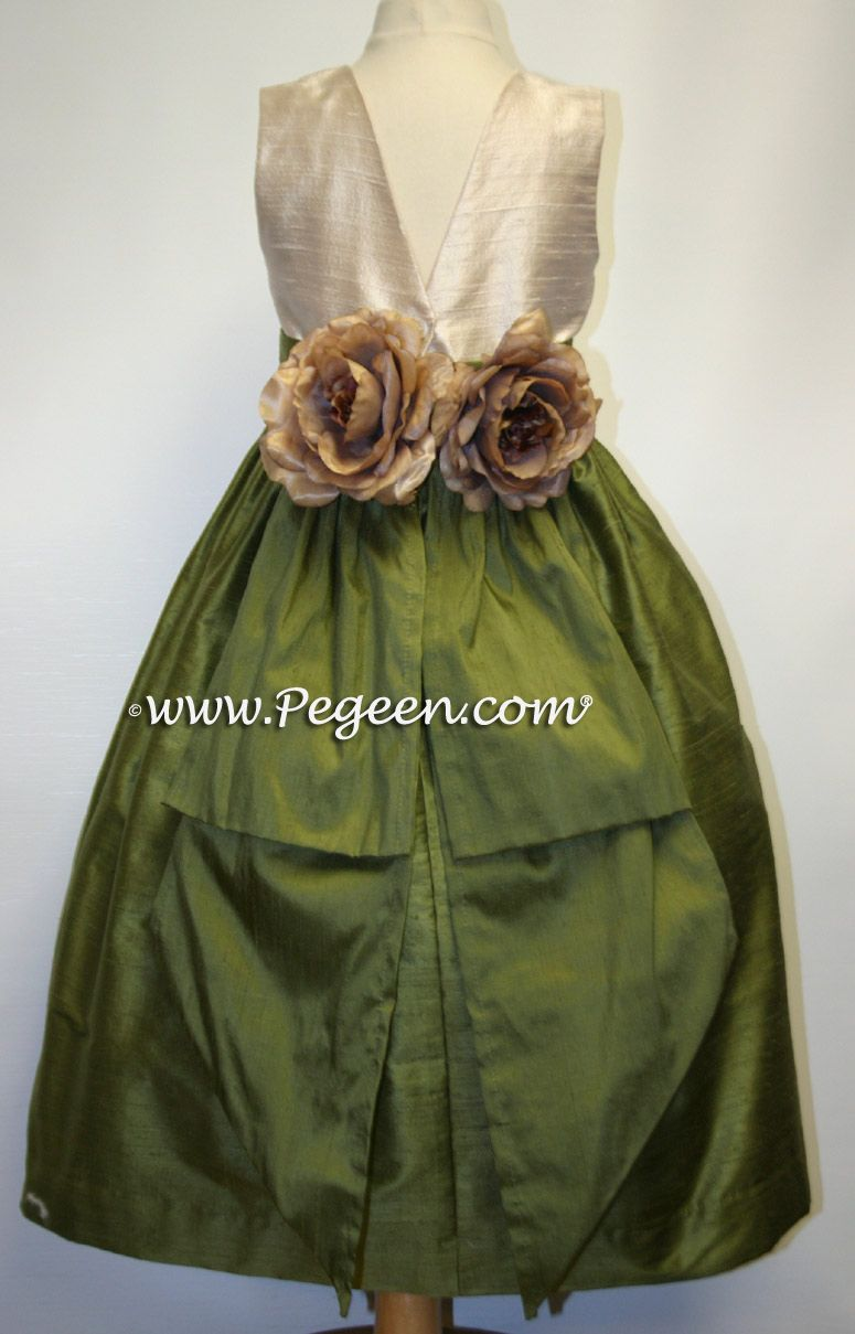 ec3bbe002 Toffee (champagne) and olive green flower girl dresses | Things for ...