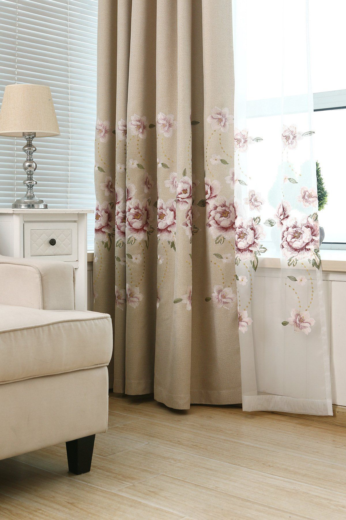 Pureaqu elegant embroidered floral blackout curtains room darkening