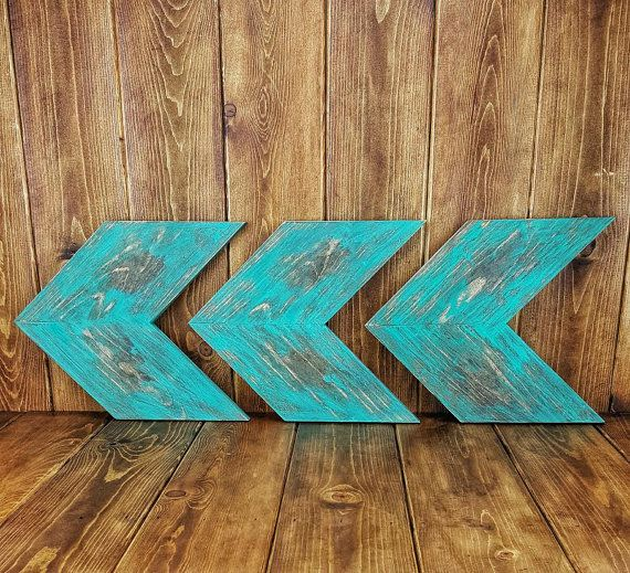 Turquoise Distressed Solid Wood Rustic Chevron Arrow Wall Decor
