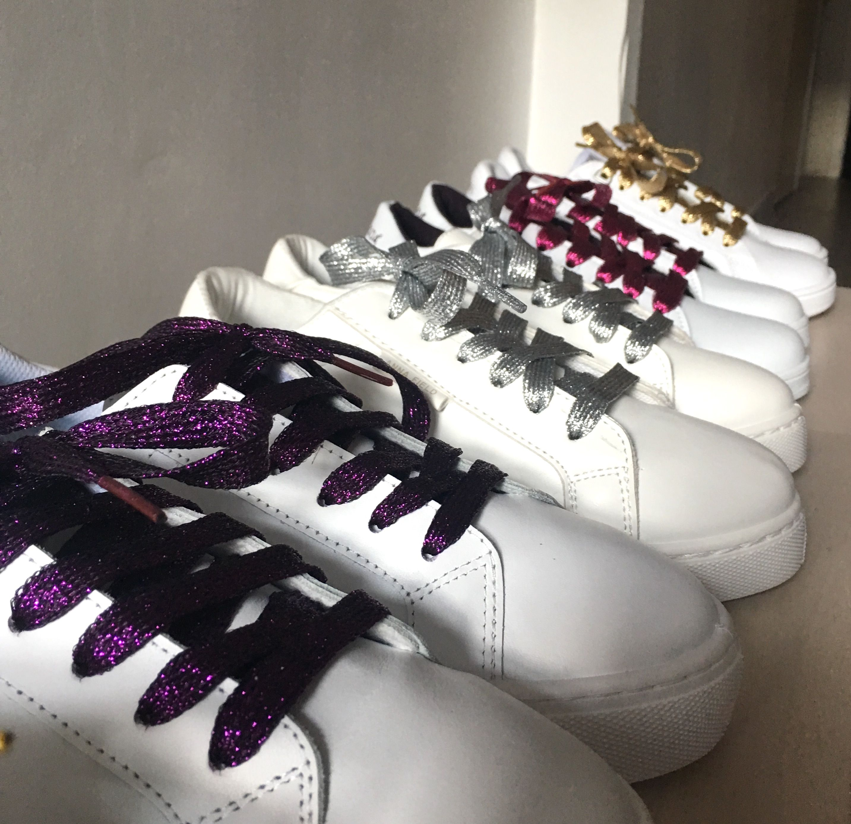 Lacets à paillettes multicolor Gold glitter shoelaces Plein