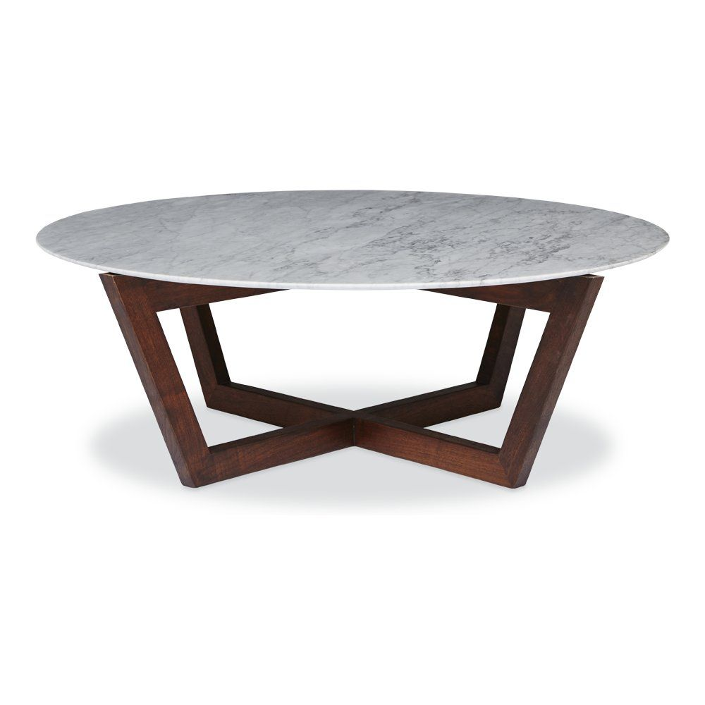 modern designer round italian marble coffee table - walnut wooden