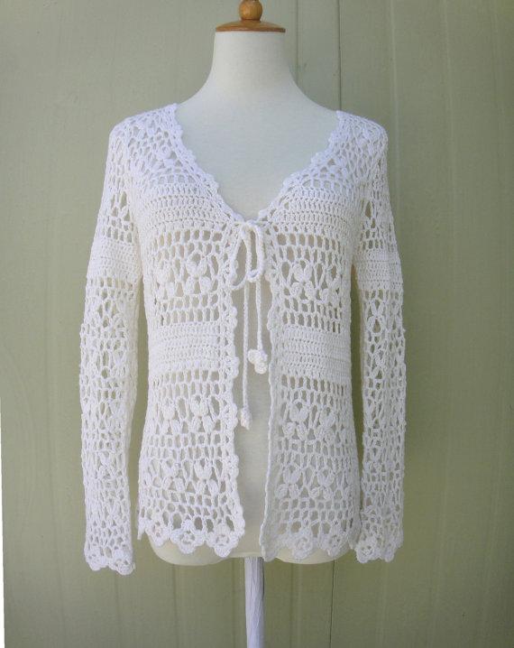 Blanco Crochet Cardigan Abierto Empate Frente Azurowe Cuda