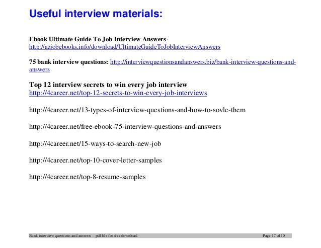 15 bank interview questions and answers stuff Pinterest Banks