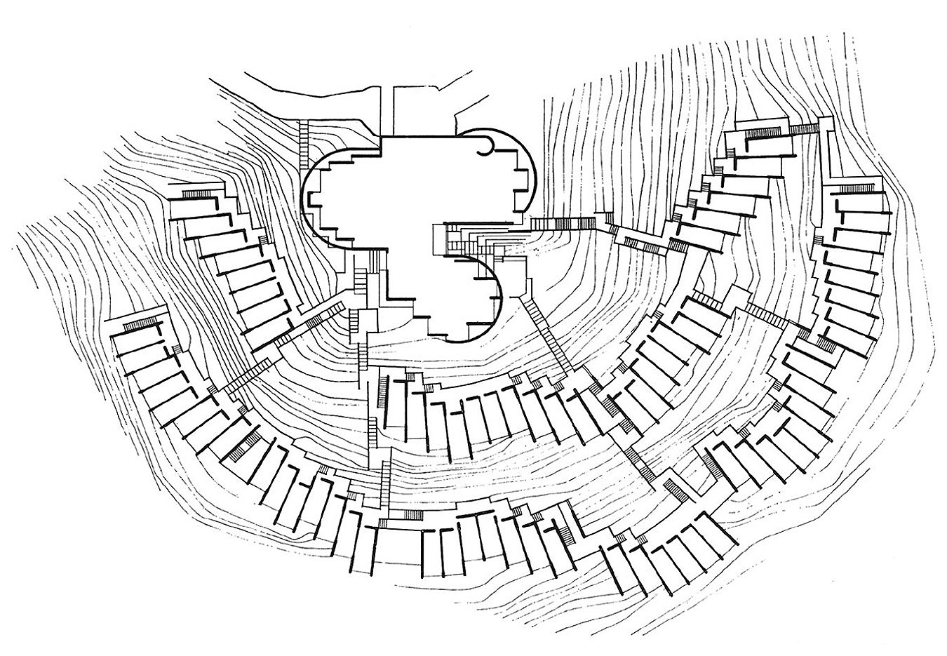 Site plan  of Giancarlo de Carlo s stepping hilltop student