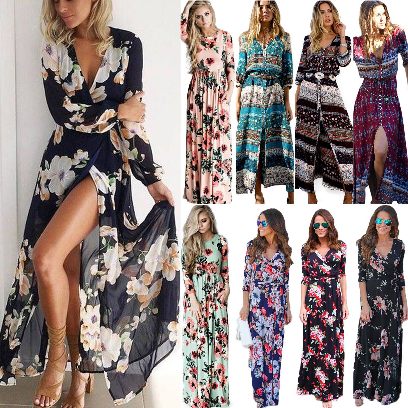 Womens Party Evening Boho Floral Maxi Dress Ladies Holiday Long Sleeve Cocktail