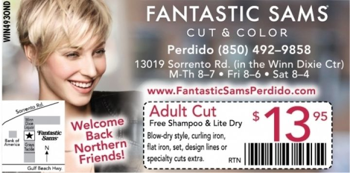 photograph about Fantastic Sams Printable Coupon known as Excellent Sams Coupon - Pensacola, Florida. Uncover this coupon