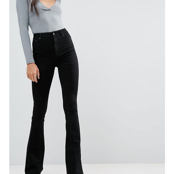 3744e2c1c ASOS TALL Bell Flare Jeans In Clean Black With Pressed Crease found on  Polyvore featuring polyvore, women's fashion, clothing, jeans, black, high  rise jeans ...