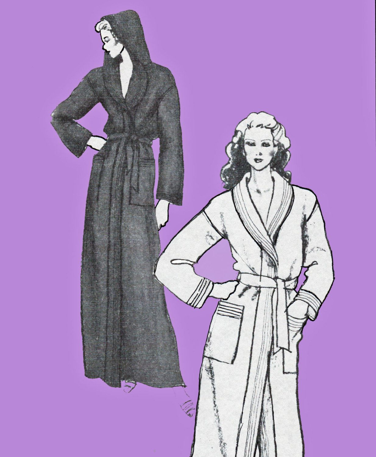misses shawl collar hooded robe pattern floor length bathrobe