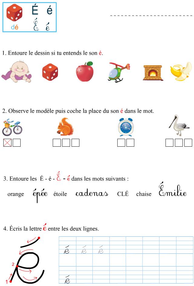 Le son é   L'enseignement du français, La phrase ce1 et Exercice