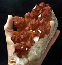 Bright Red Orange River Hematite Phantom Quartz from Africa 2943