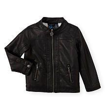 Koala Kik Boys Black Zip Up Faux Leather Motorcycle Jacket