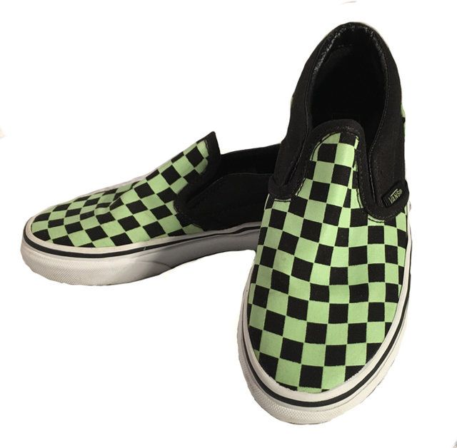 8e431a4f21 Vans Boys Neon Green and Black Checkered Slip on Loafers size 13.5. These  Vans are in great condition.