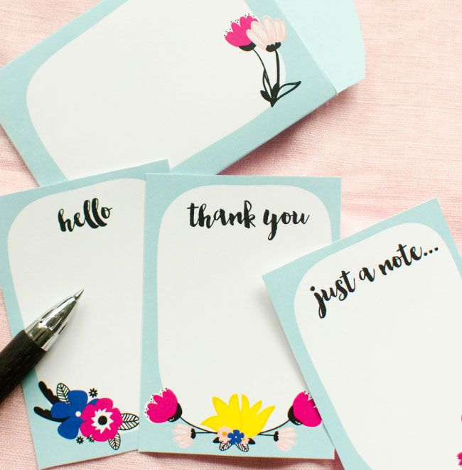 Printable note cards and envelope from Paper Loving