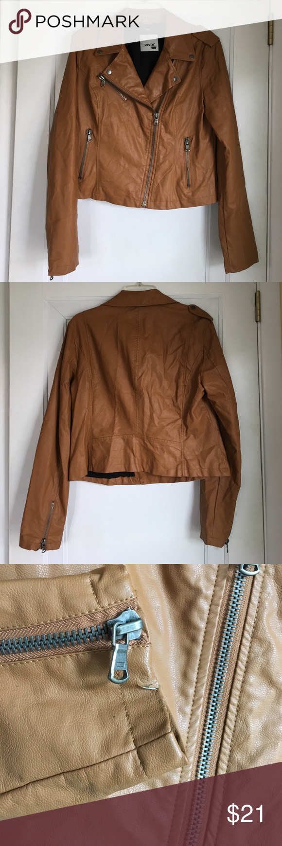 Levi's faux leather motorcycle jacket Light brown faux