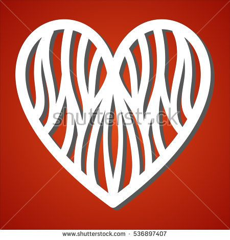 Laser Cut Heart For Paper Cutting Valentines Day And Love Symbol