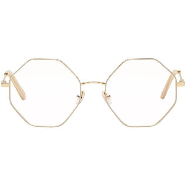 9325819c9cb4 Chloé Gold and Beige Hexagon Glasses ($315) ❤ liked on Polyvore featuring  accessories, eyewear, eyeglasses, gold, metal frame eyeglasses, gold  eyeglasses, ...