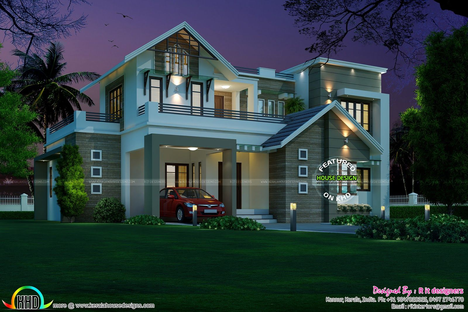 2156 Sq Ft Sloping Roof Mix Home Duplex House Design Model House Plan House Roof Design