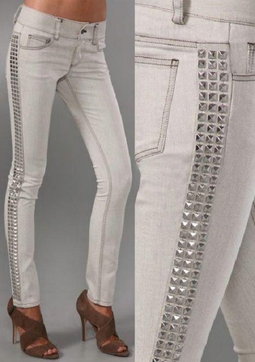 026ac0048 Calça jeans com tachinhas na lateral | ✄Altered Couture✄ #2 ...