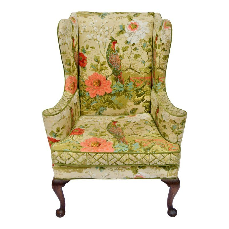 Brilliant Vintage Mid Century Botanical Print Wingback Chair In 2019 Unemploymentrelief Wooden Chair Designs For Living Room Unemploymentrelieforg