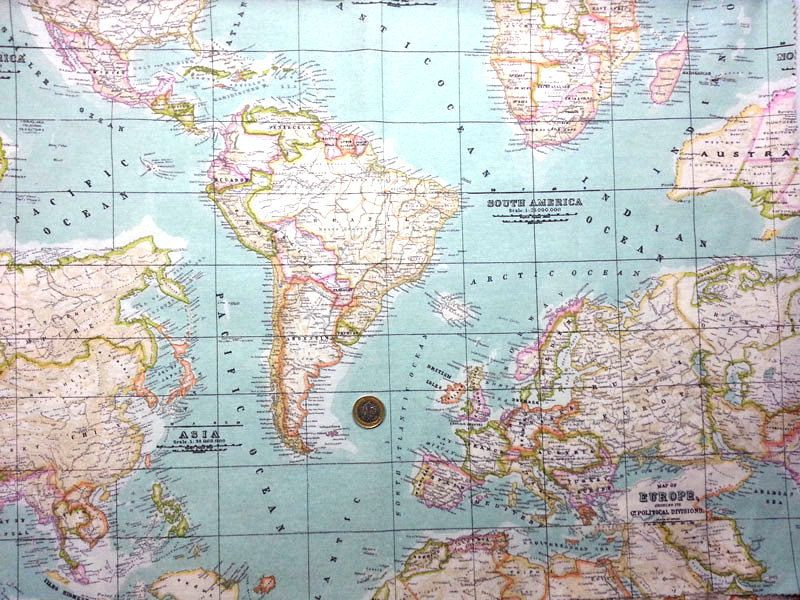 World map printed in mint heavy weight vilber linen upholstery