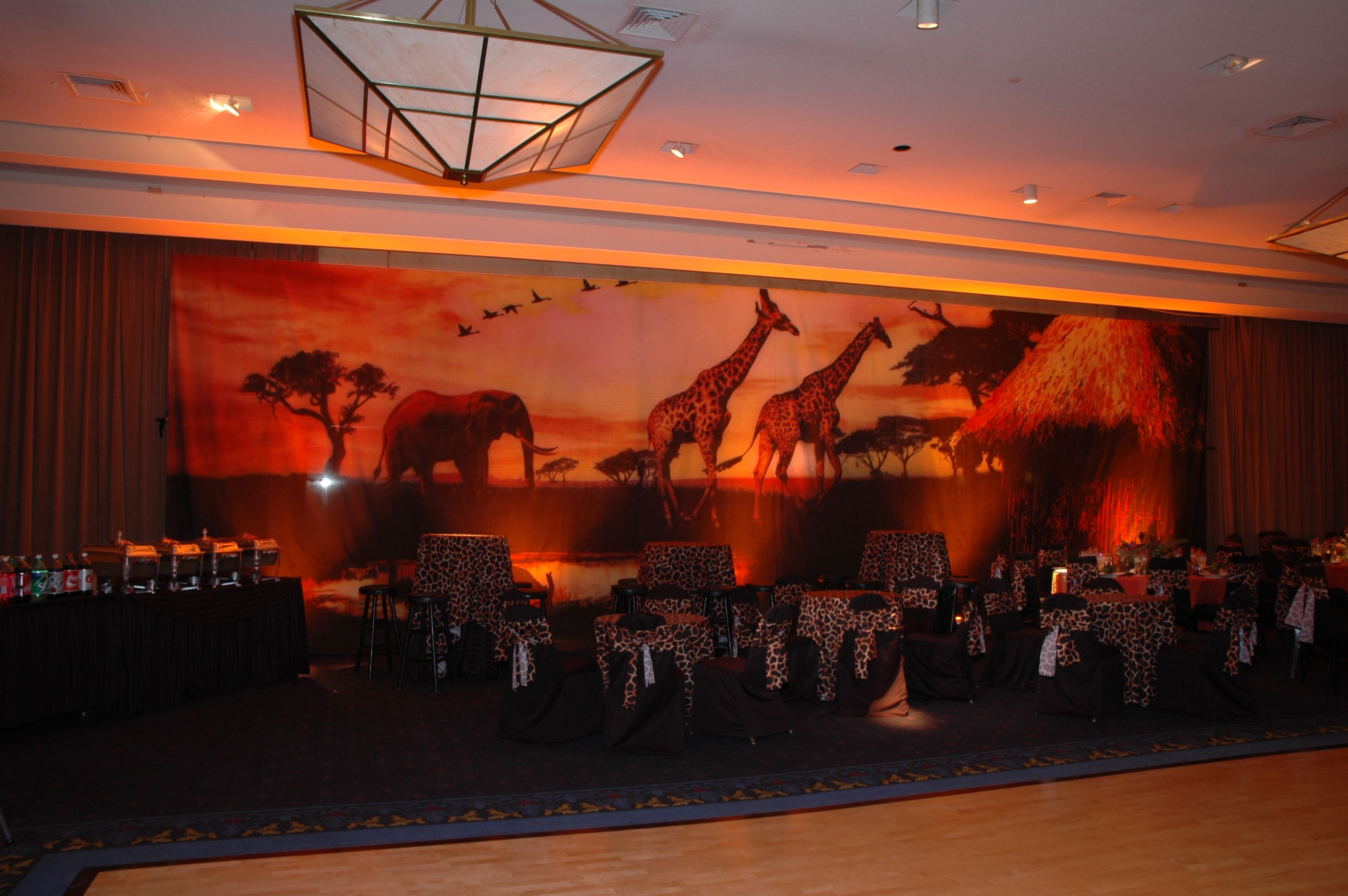 backdrop with amber lighting at african safari barmitzvah