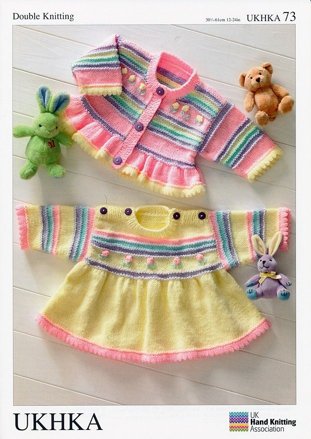 Dress and Cardigan in Baby DK (UKHKA73) | Free Knitting