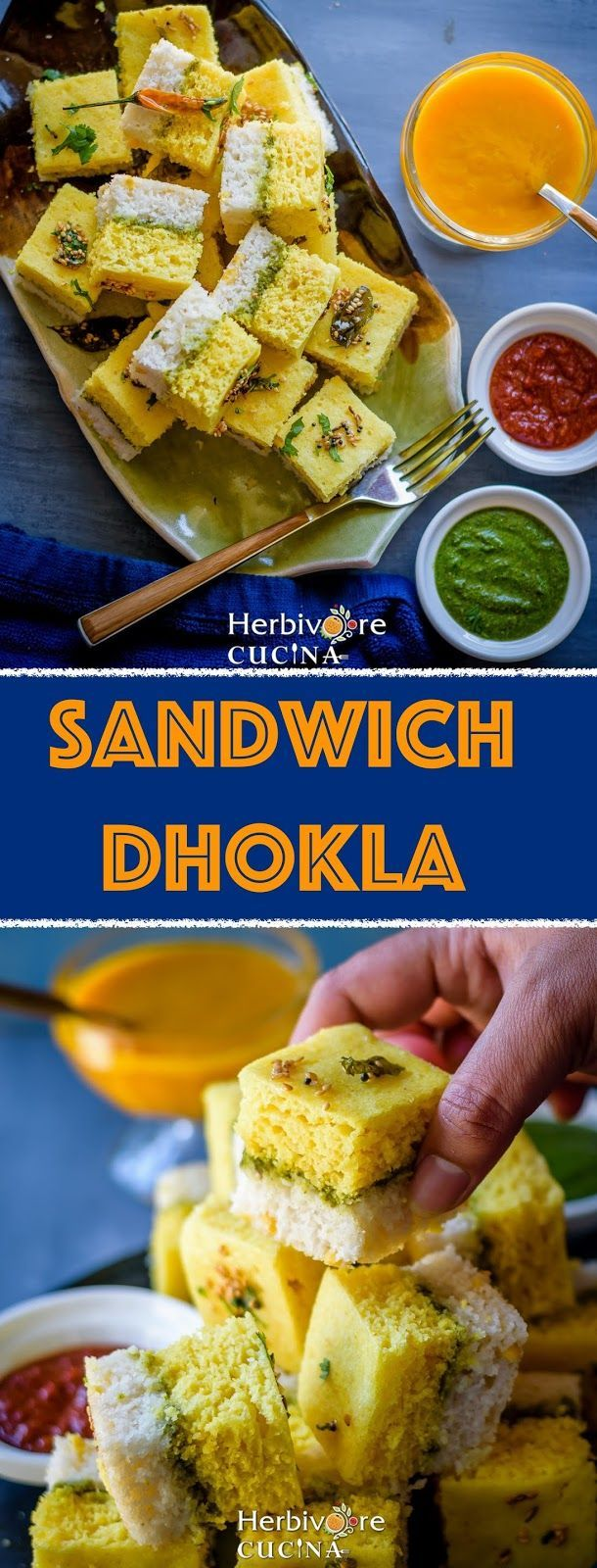 Sandwich Dhokla Herbivore Cucina: Sandwich Dhokla   Layered Savory Steamed Cakes...A perfect snack or appetizer, Sandwich Dhokla combines two Indian favorites to make a yummy recipe! Dunk them in chutney or enjoy with chai!