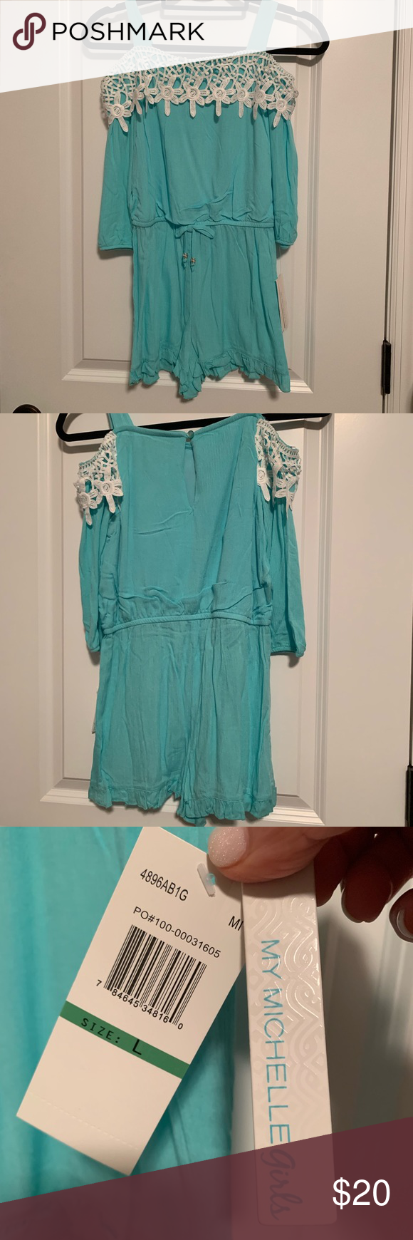 24a41eaefff Girls cold shoulder romper New My Michelle girls cold shoulder romper with  lace trim and tie waist. Mint color. My Michelle Dresses Casual
