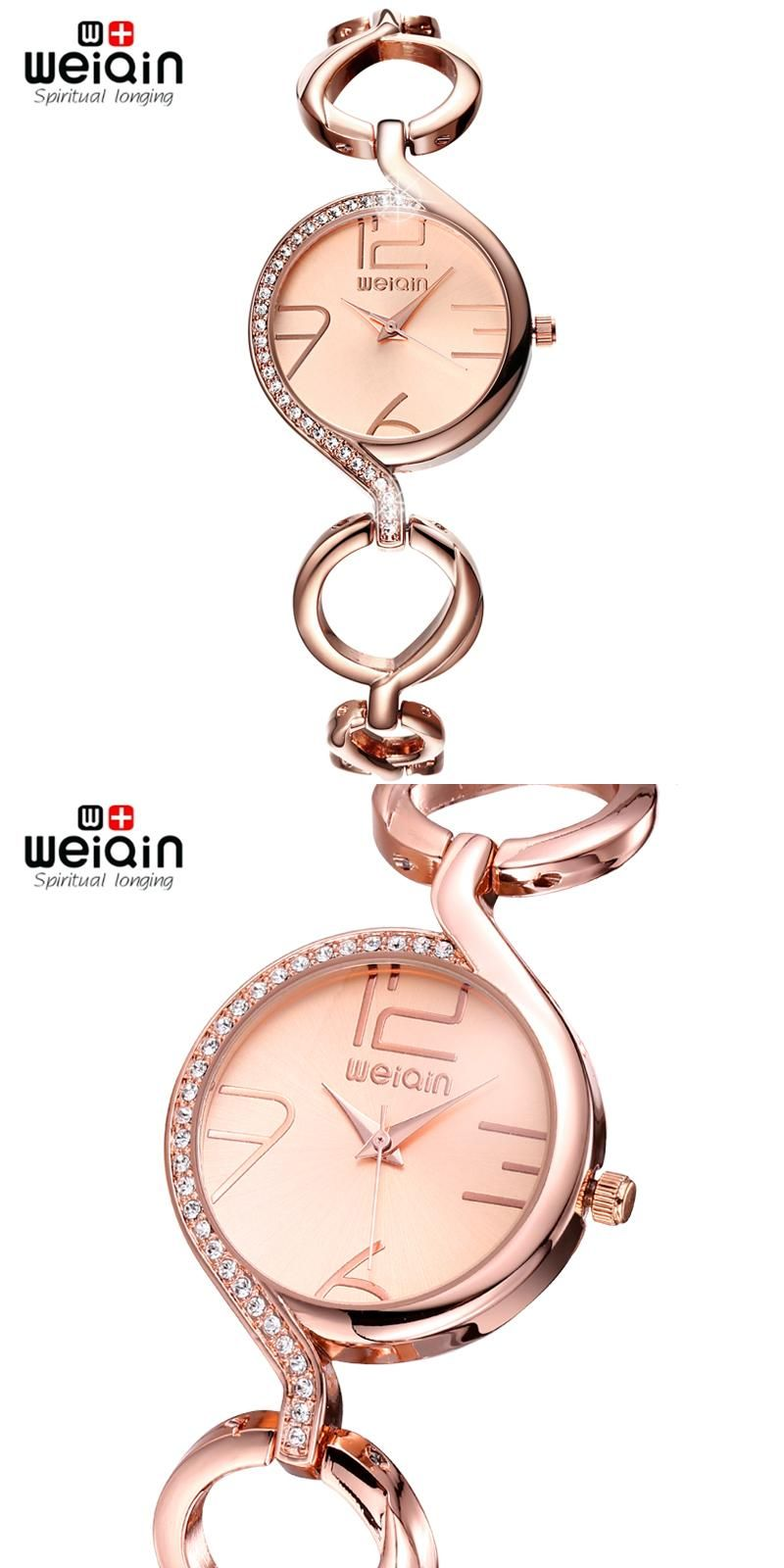 da064d52713 WEIQIN Brand Luxury Crystal Gold Watches Women Fashion Bracelet Watch  Quartz Shock Waterproof Relogio Feminino orologio