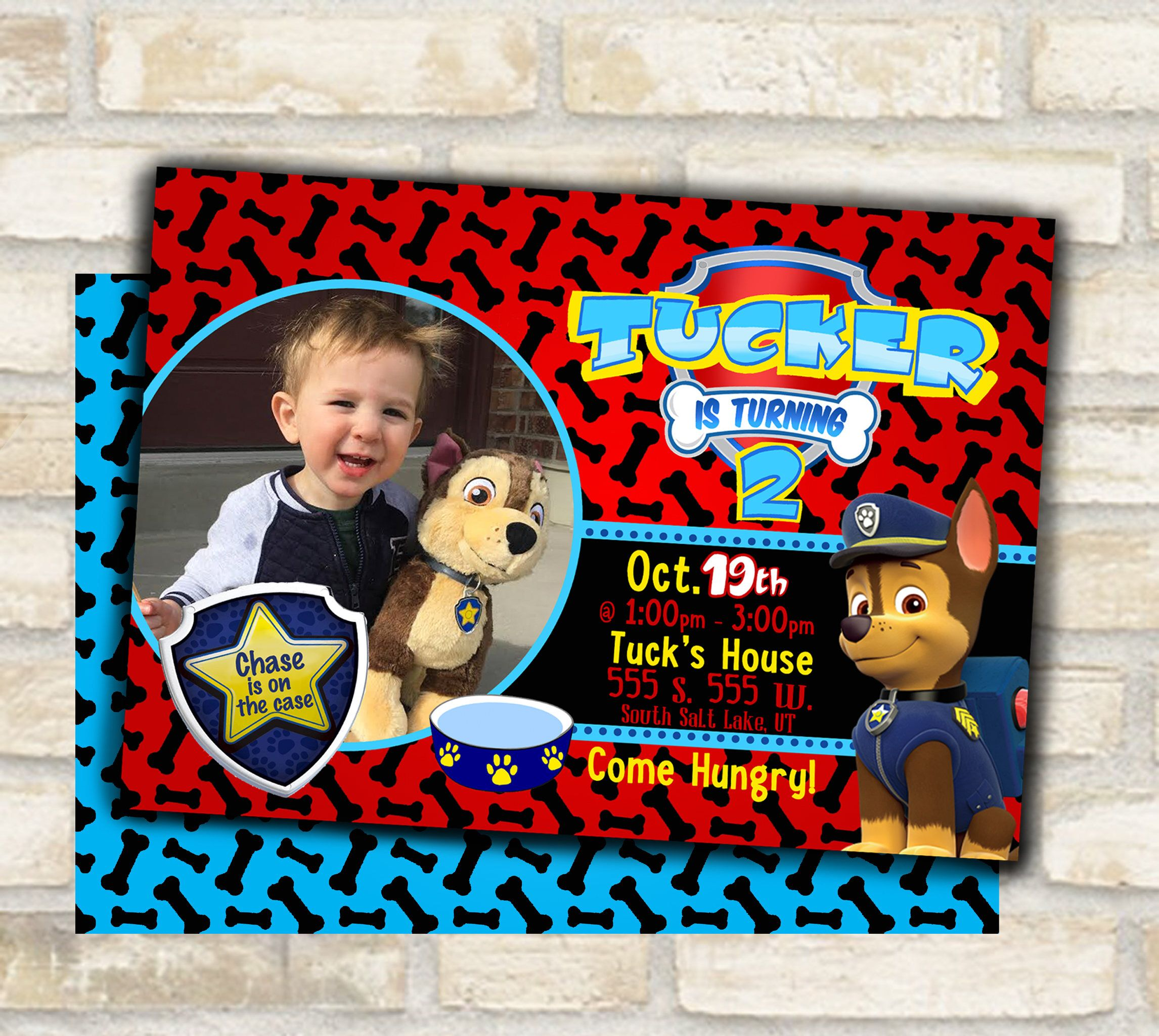 Paw Patrol birthday party invitation for girl or boy red Chase is on ...