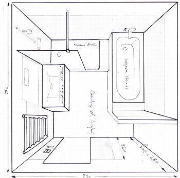 Salle de bain de 6m2 baignoire douche wc recherche for Plan salle de bain avec douche