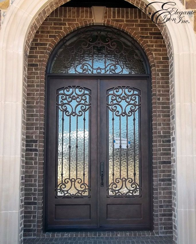 Custom Wrought Iron Door With Arched Transom Iron Doors Wrought Iron Front Door Iron Front Door