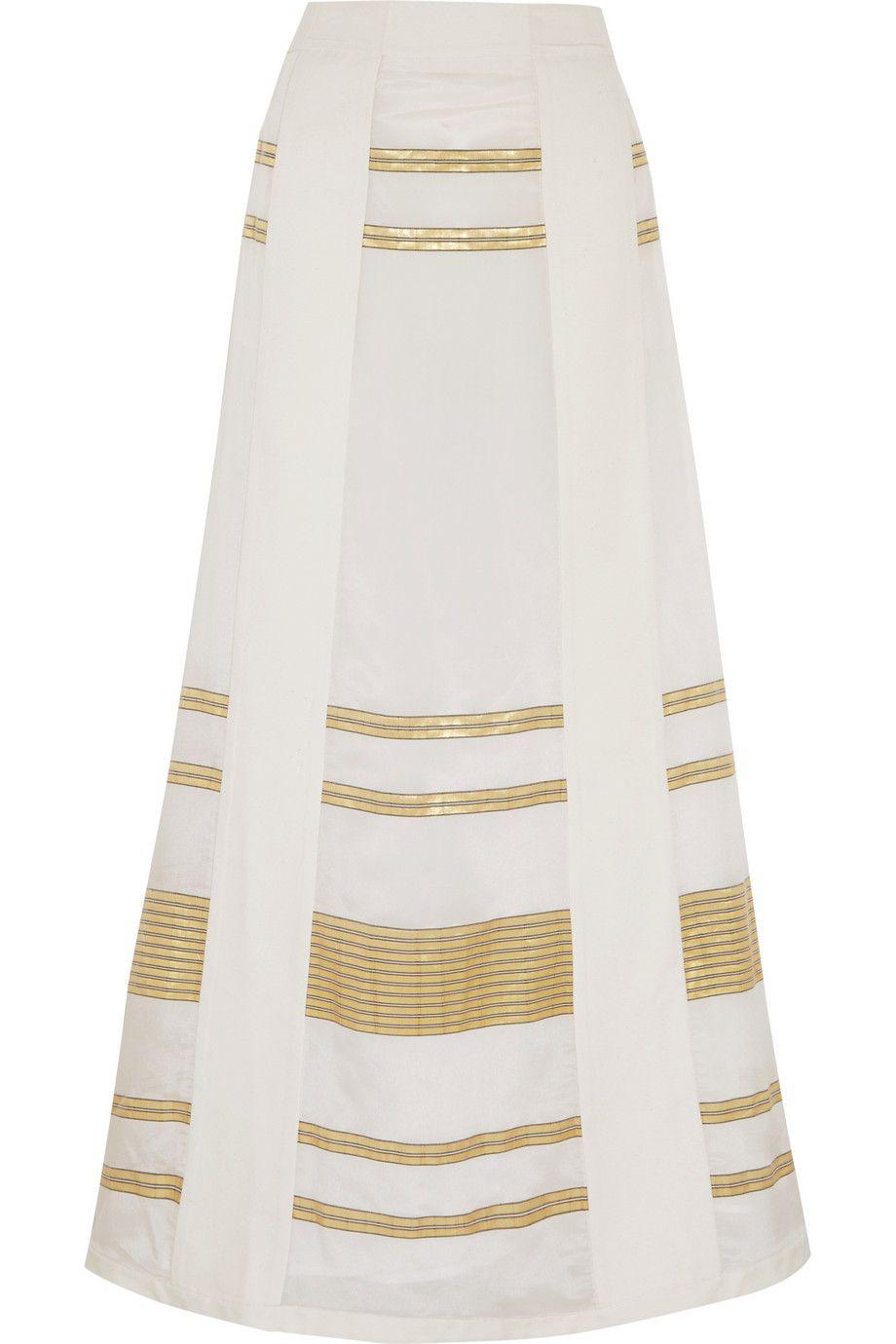 dd9a1dcac18 ZEUS+DIONE Leda paneled lamé and silk crepe de chine maxi skirt ...