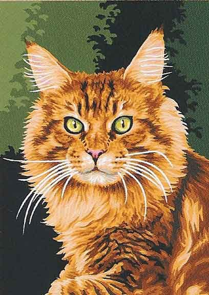 LE MAINE COON CAT NEW NEEDLEPOINT CANVAS - #maincoonl - More Main Coon Cat Breeds at Catsincare.com!