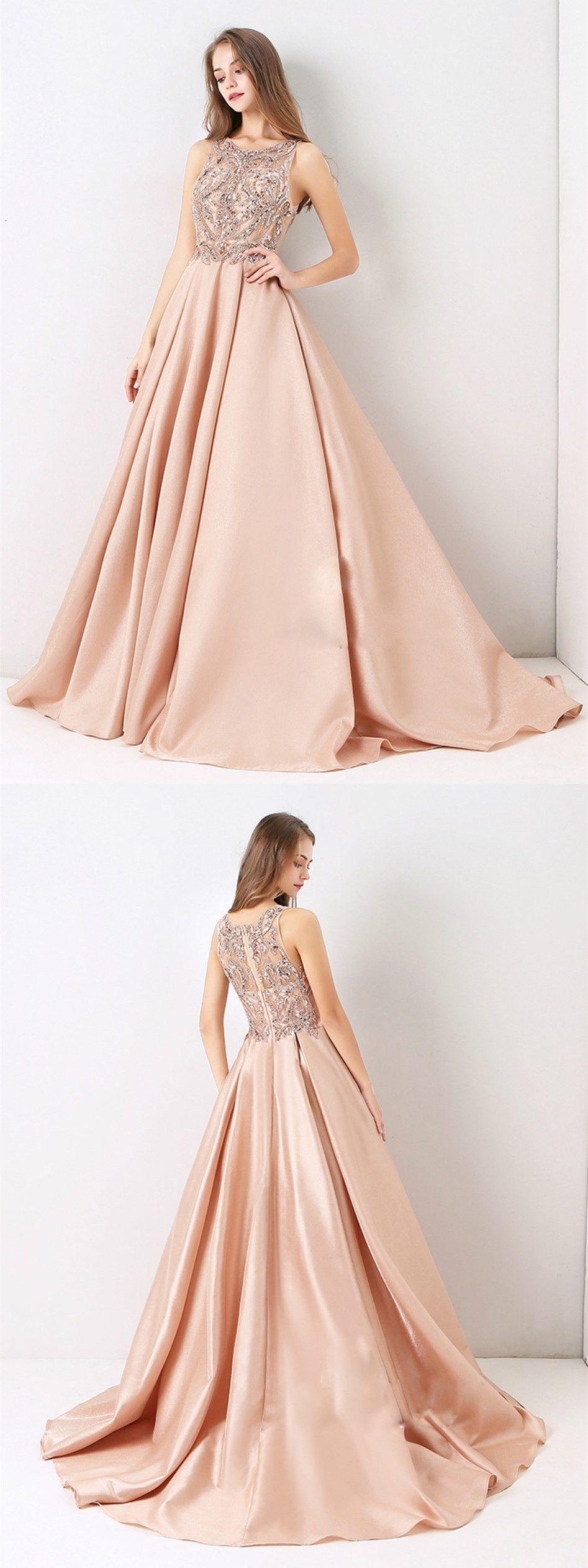 Aline princess scoop neck sleeveless floor length prom dresses