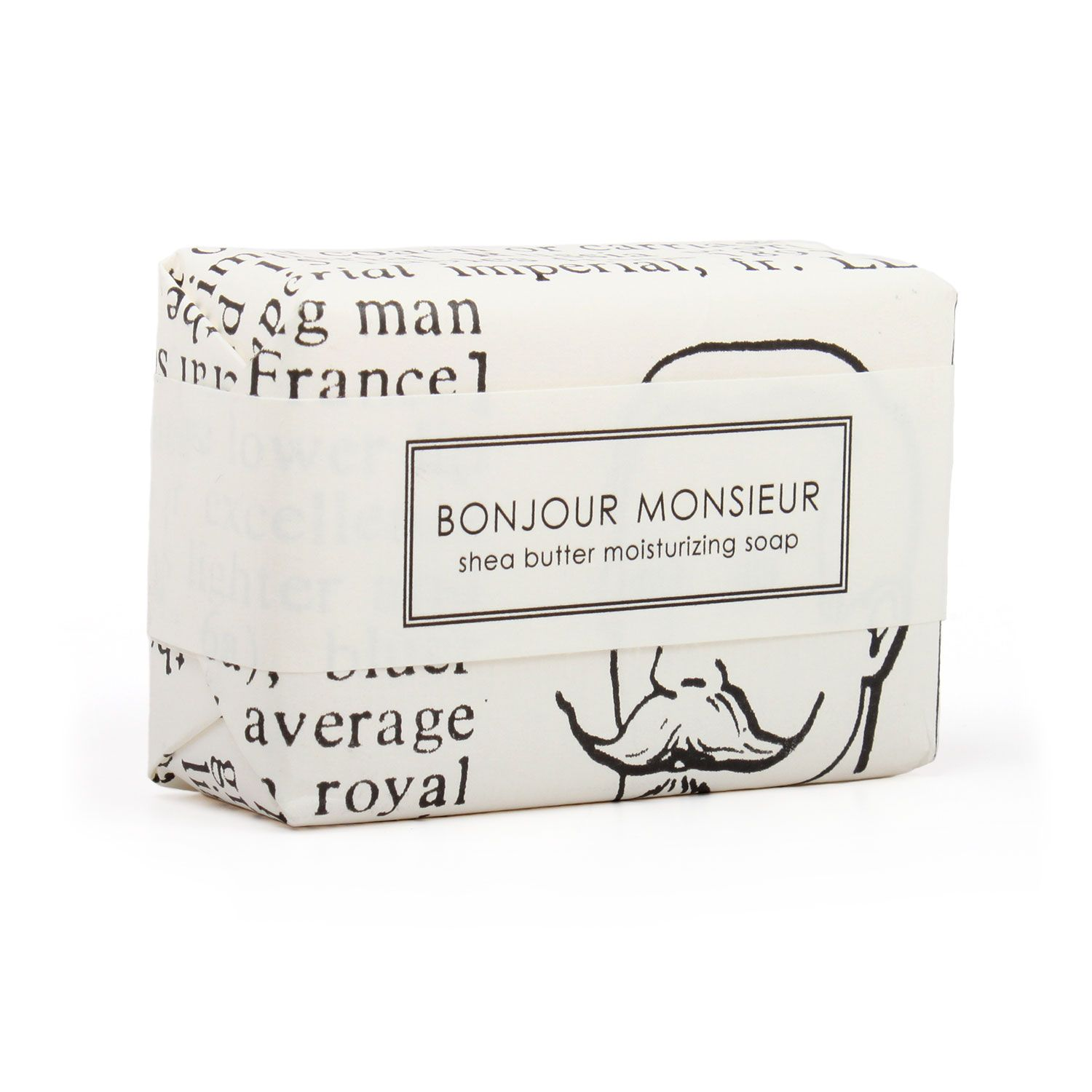 BATH BAR, BONJOUR MONSIEUR Formulary 55 Long lasting and luxurious extra-moisturizing shea butter bars make for a delightful gift. We love to give them in a fat stack, tied with a ribbon. Bonjour Monsieur is combination of roasted tea leaves, tobacco, cedarwood & Sicilian lemon. Also, best soap name ever.