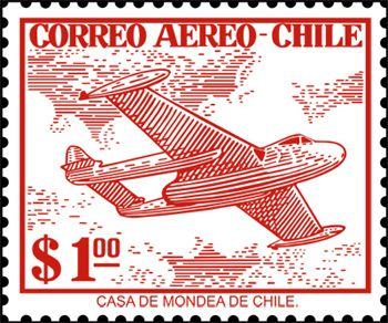 Stamp From Chile Depicting A De Havilland Vampire In Service Of Fuerza Area