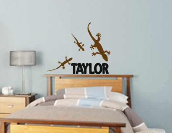 . Boys room name decal  lizard wall sticker  teen bedroom name wall
