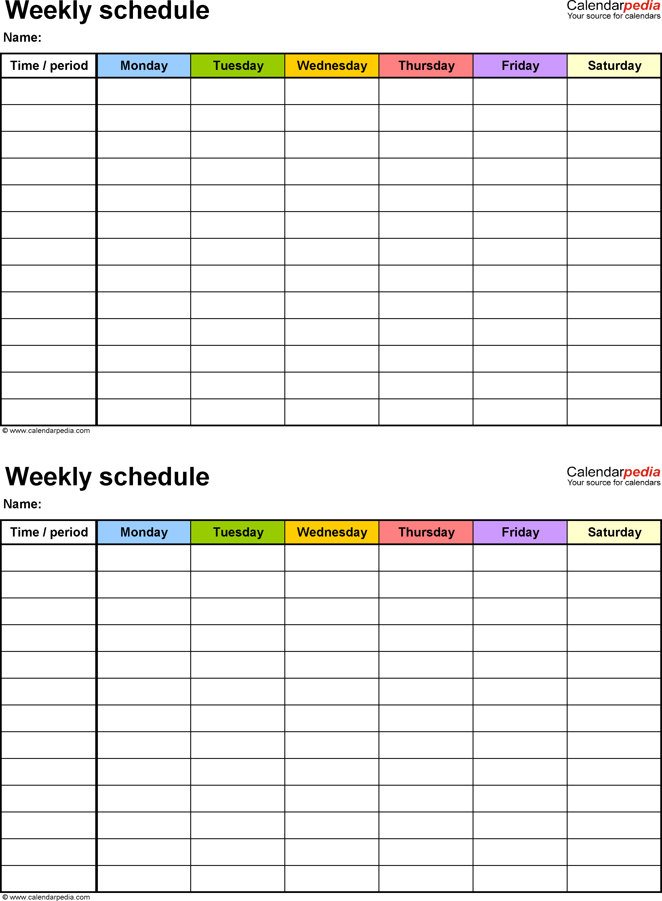 Weekly Schedule Template For Word Version 9: 2 Schedules On One