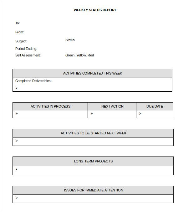 sample weekly status report template free editable download - weekly report template