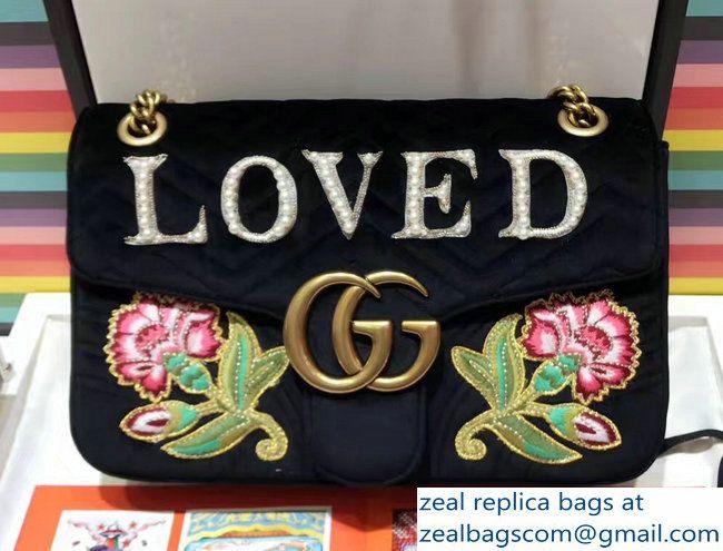 83cb953647b Gucci GG Marmont Embroidered Loved And Floral Velvet Chevron Medium  Shoulder Bag 443496 Black 2017