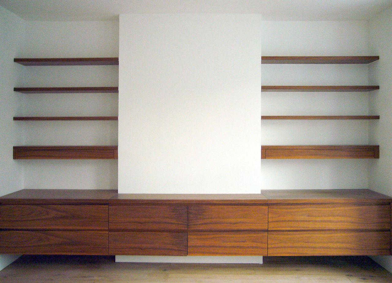 floating cabinets for tv | Contemporary alcove unit in a dark ...