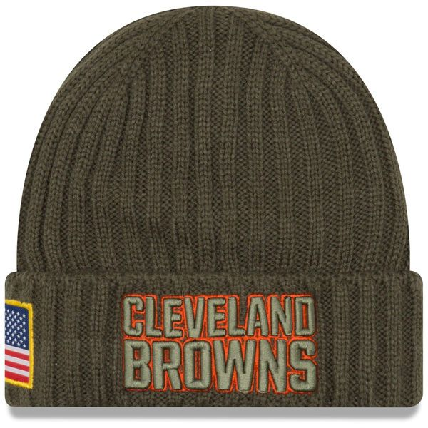 innovative design 55f31 282c4 ... new style cleveland browns new era youth 2017 salute to service cuffed knit  hat olive 27.99