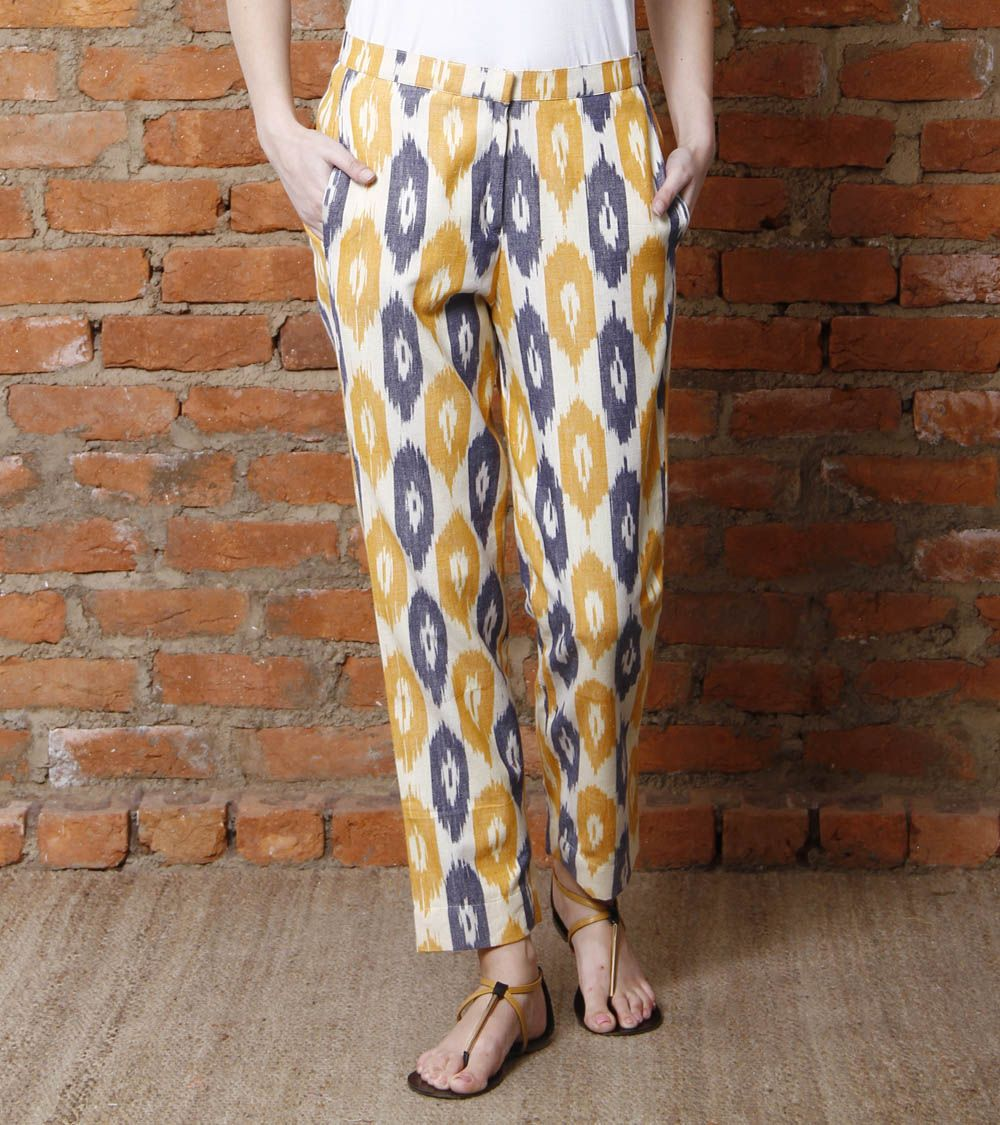 Multicoloured Ikat Cotton Pants | We -Nature And Me