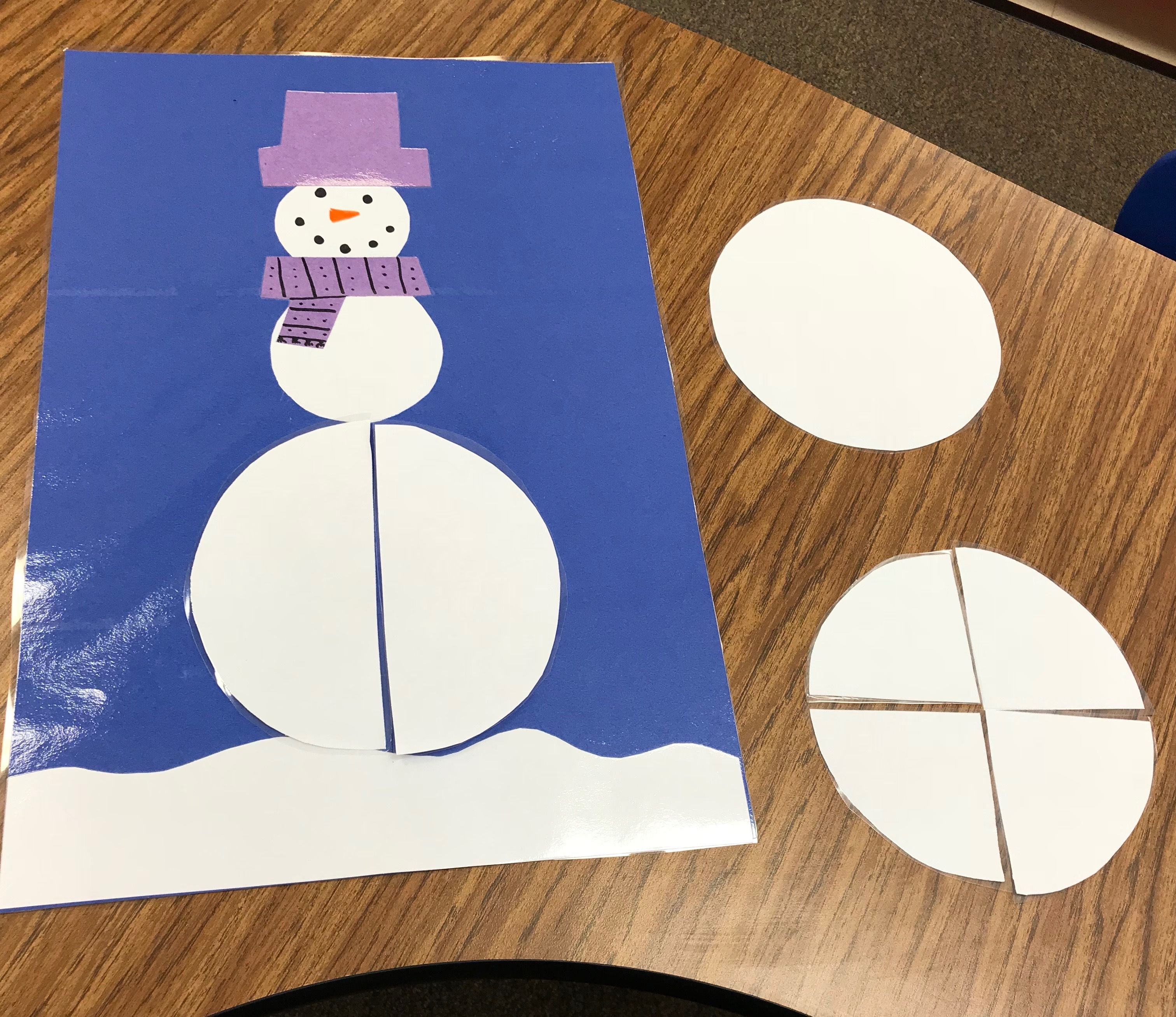 Snowman Fractions Easy Way To Introduce Whole Half And