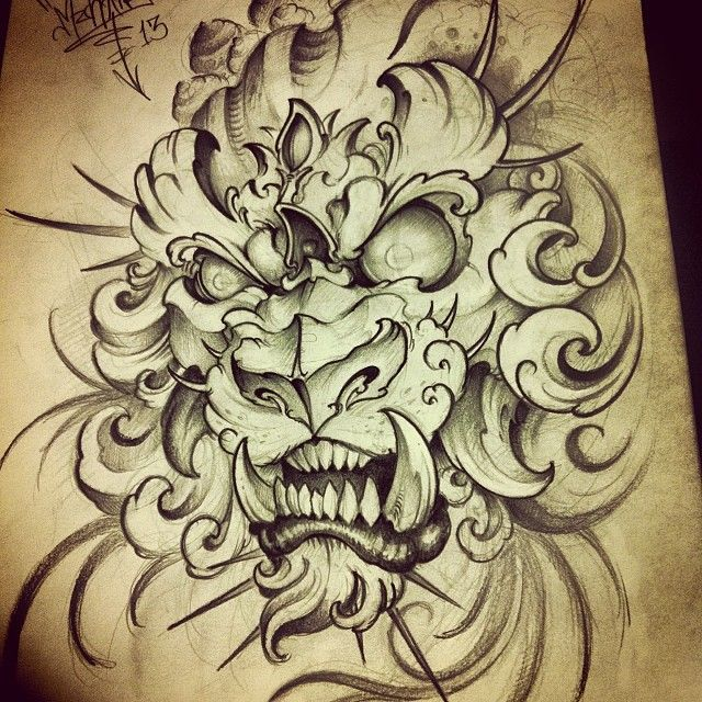 Foo Lion I Was Working In Gonna Finish It Tomorrow Japanese Tattoo Art Tattoo Graphic Foo Dog Tattoo Design